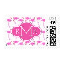 Pink Flamingo Pattern | Monogram Postage