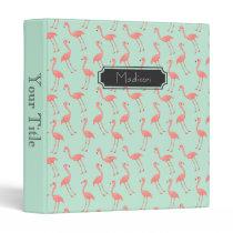 Pink Flamingo Pattern with First Name Binder