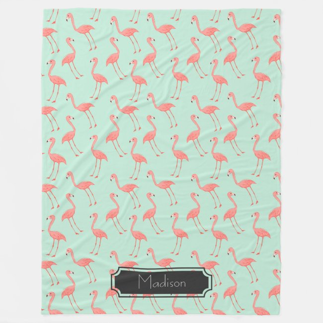 Pink Flamingo Pattern with First Name
