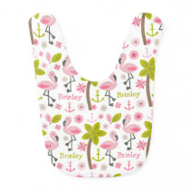 Pink Flamingo Personalized Baby Bib