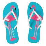 Pink Flamingo Personalized Flip Flops at Zazzle
