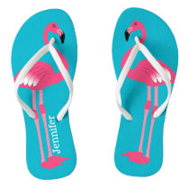 Pink Flamingo Personalized Flip Flops
