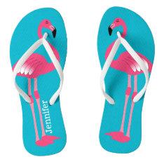 Pink Flamingo Personalized Flip Flops at Zazzle
