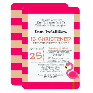 Pink Flamingo Personalized Small Baptism Card