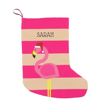 Beach Themed Pink Flamingo Personalized Stocking