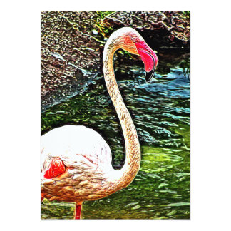Pink Flamingo Photo Painting Card