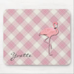 """Pink Flamingo Plaid Mouse pad<br><div class=""""desc"""">Fun and pretty this plaid mouse pad is done in a retro style pink and cream plaid. Graphics of a pink flamingo, on the right side, and black script text on the left side. Personalize the text to say anything you want. Great for home, school, or office and makes a...</div>"""