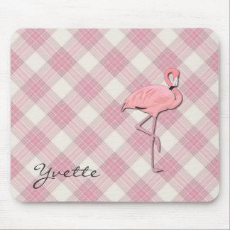 Pink Flamingo Plaid Mouse pad