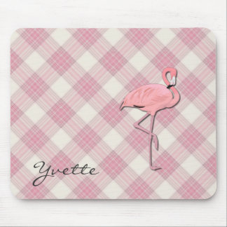 Pink Flamingo Plaid Mouse pad