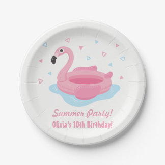 Pink Flamingo Pool Float Summer Party Plates