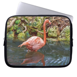 Pink Flamingo Reflected in River Laptop Sleeve