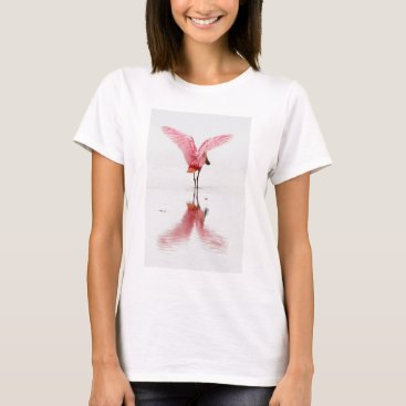 Beach Themed Pink flamingo reflected in water on basic t-shirt