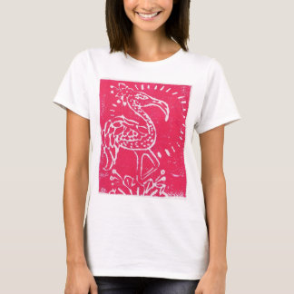 Pink Flamingo Relief Print Tee-Shirt T-Shirt