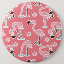 Pink Flamingo repeating pattern button