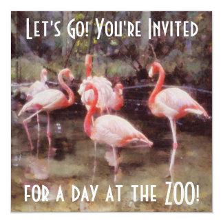 Pink Flamingo Retro Zoo Square Invitation