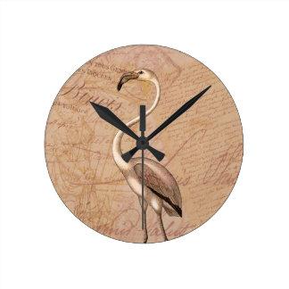 Pink Flamingo Round Wall Clocks