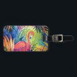 """Pink Flamingo Sanibel Midnight Watercolor Painting Bag Tag<br><div class=""""desc"""">&quot;Sanibel Midnight&quot; watercolor painting by Patricia Merewether</div>"""