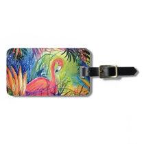 Pink Flamingo Sanibel Midnight Watercolor Painting Bag Tag