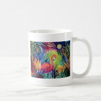 Pink Flamingo Sanibel Midnight Watercolor Painting Coffee Mug