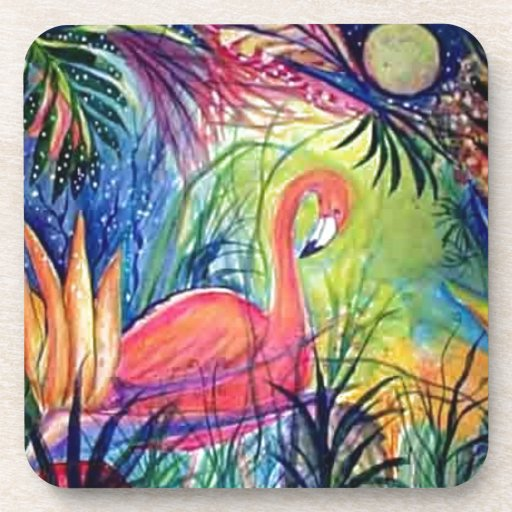 Pink Flamingo Sanibel Midnight Watercolor Painting Beverage Coaster