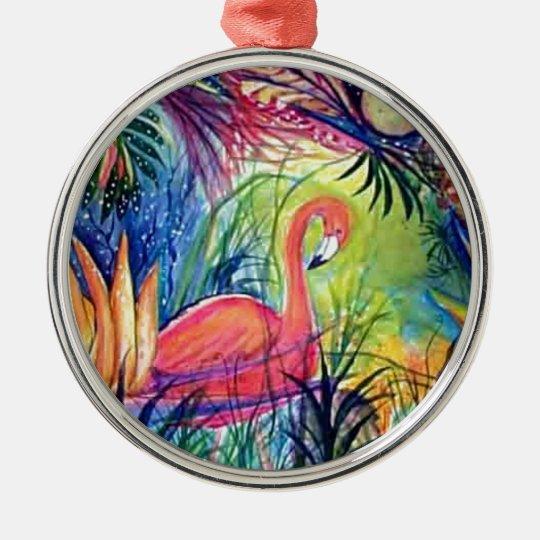 Pink Flamingo Sanibel Midnight Watercolor Painting Metal Ornament