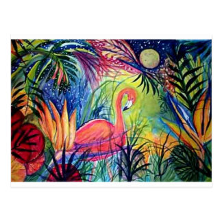 Pink Flamingo Sanibel Midnight Watercolor Painting Postcard