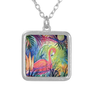 Pink Flamingo Sanibel Midnight Watercolor Painting Square Pendant Necklace