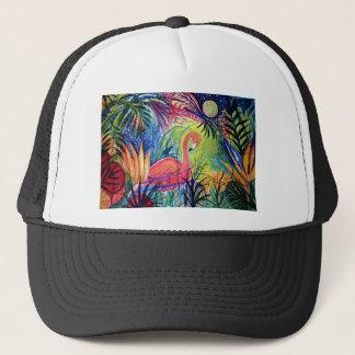 Pink Flamingo Sanibel Midnight Watercolor Painting Trucker Hat