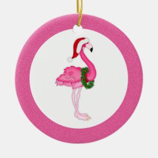 Pink Flamingo Santa Ceramic Ornament