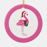 Pink Flamingo Santa Double-Sided Ceramic Round Christmas Ornament