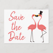 Pink Flamingo Save The Date Engagement Wedding Announcement Postcard