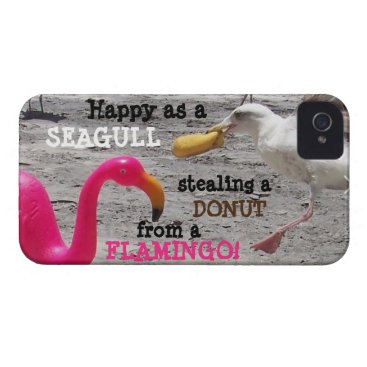 Pink Flamingo Seagull Donut Beach Vacation Humor Case-Mate iPhone 4 Case