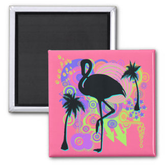 Pink Flamingo Silhouette 2 Inch Square Magnet