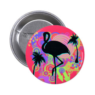 Pink Flamingo Silhouette Button