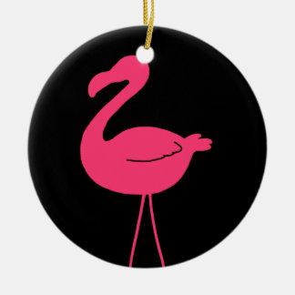 Pink Flamingo Silhouette Ceramic Ornament