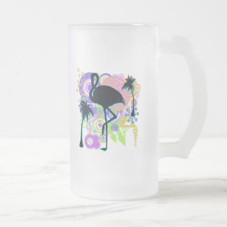 Pink Flamingo Silhouette Frosted Glass Beer Mug
