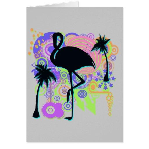 Pink Flamingo Silhouette Greeting Card