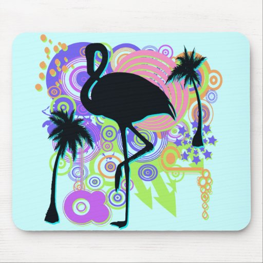Pink Flamingo Silhouette Mouse Pad