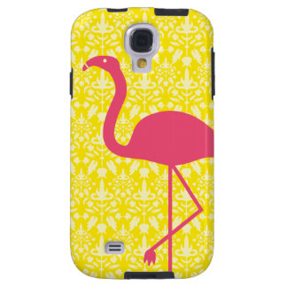 Pink Flamingo Silhouette On Yellow Galaxy S4 Case