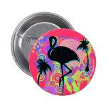 Pink Flamingo Silhouette Pinback Button