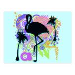 Pink Flamingo Silhouette Postcard
