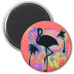 Pink Flamingo Silhouette Refrigerator Magnets