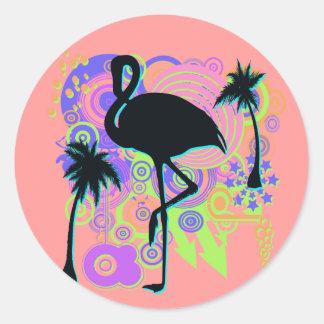 Pink Flamingo Silhouette Round Stickers