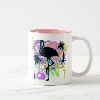 Pink Flamingo Silhouette Two-Tone Coffee Mug