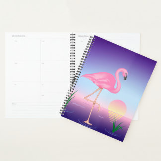 Pink Flamingo Spiral Planner