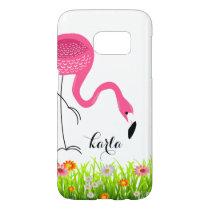 Pink Flamingo & Spring Flowers Samsung Galaxy S7 Case
