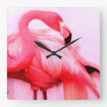 Pink Flamingo Square Wall Clock