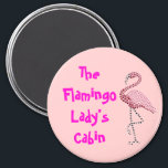 """Pink Flamingo Stateroom  Door Marker Magnet<br><div class=""""desc"""">Pink Flamingo Door Marker. Personalize with your name, or substitute any text you like. A thoughtful bon voyage gift! Cruise Ships keep getting bigger and bigger. The hallways with longer and longer rows of cabin doors that all look alike.! Mark YOUR stateroom door with a Staterooom Door Marker, and spot...</div>"""