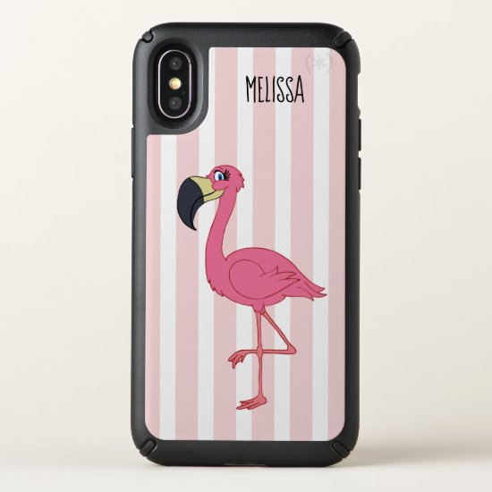 Pink Flamingo Stripes Speck Presidio iPhone X Case