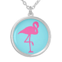 Pink Flamingo Summer Beach Print Pattern Silver Plated Necklace